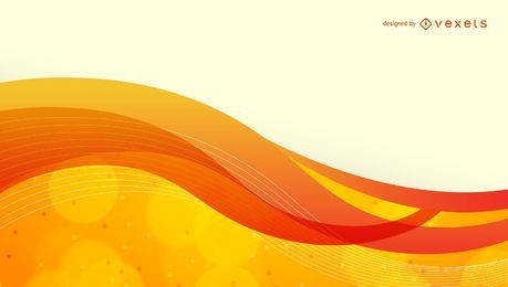 Waving Orange Curves & Bubbles Abstract Background