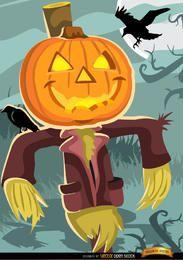 Cabeça de abóbora de espantalho de Halloween
