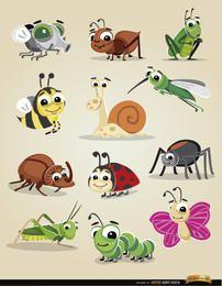 Conjunto de ícones de insetos dos desenhos animados