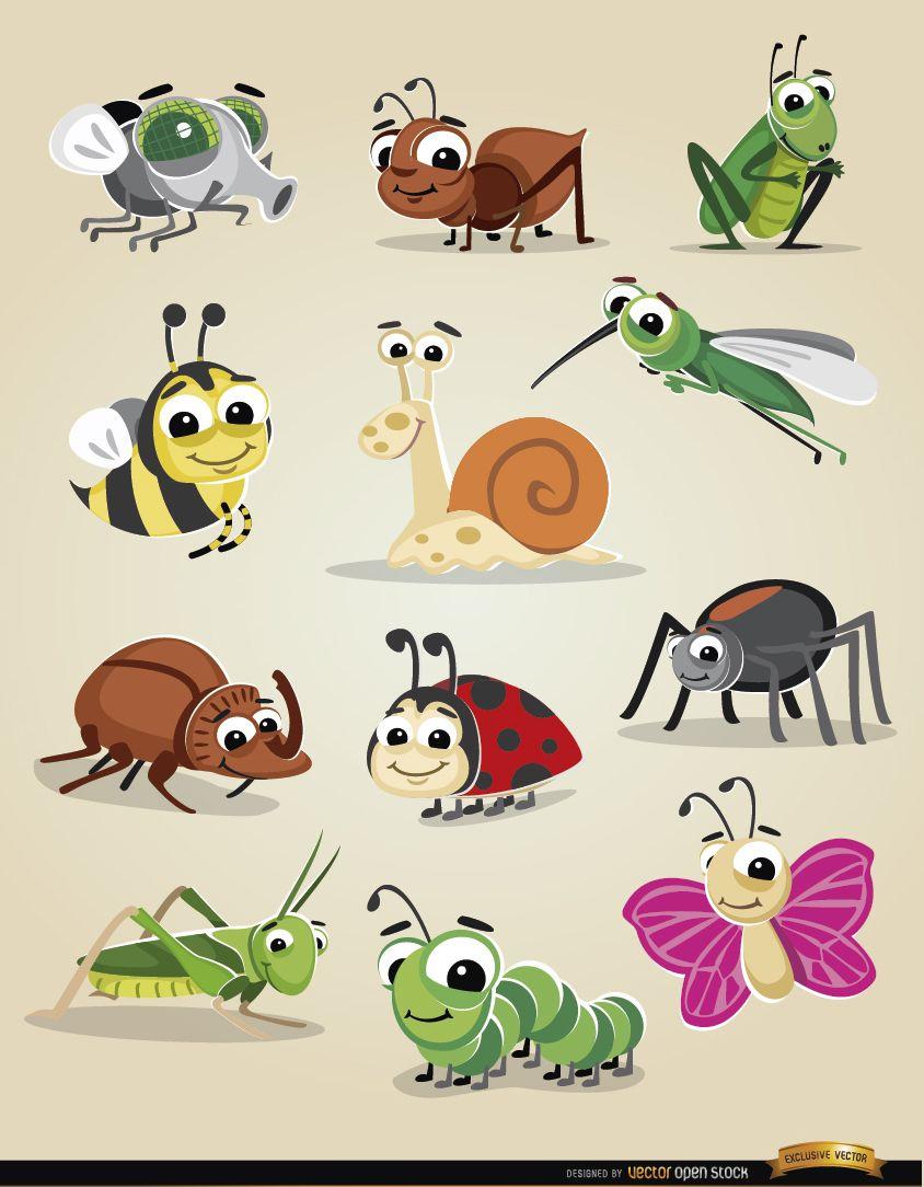 Insectos de dibujos animados icon set descargar vector - Fotos de insectos para imprimir ...