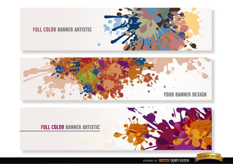 Colorful paint drops headers