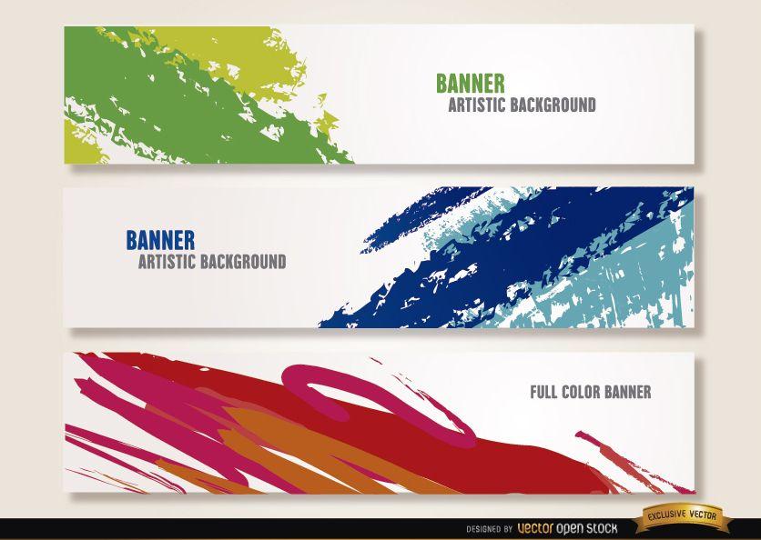 Artistic paint brushstrokes headers