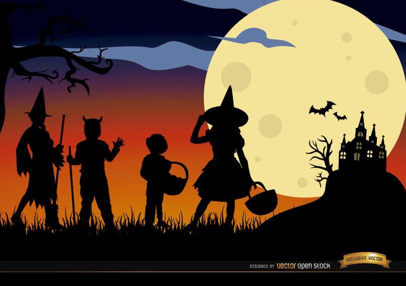 Halloween children disguised silhouettes background