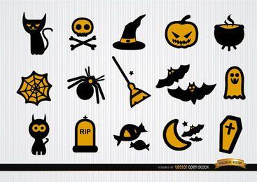 Conjunto de ícones engraçados de Halloween