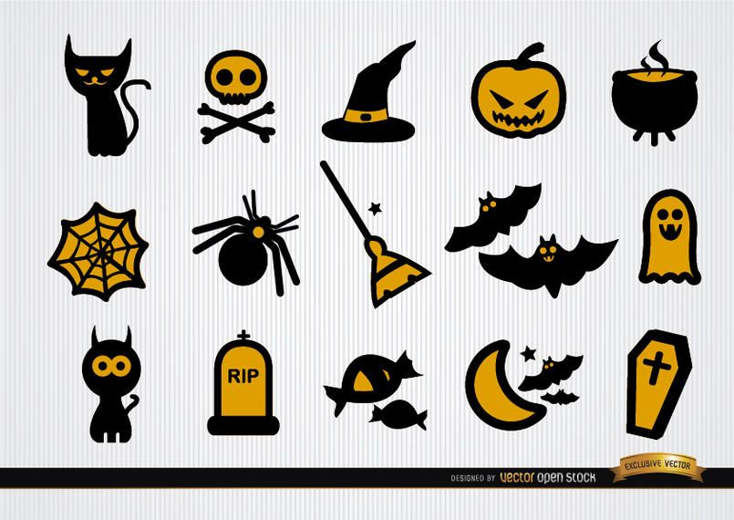 Funny Halloween icons set