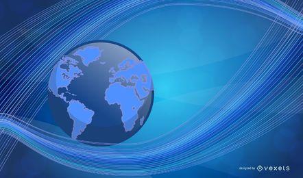 Linhas de ondulação com fundo azul do negócio do globo