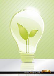 Idea ecológica. Bombilla de hojas.