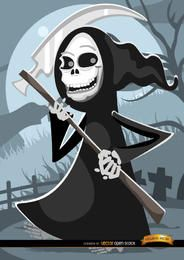 Cartoon grim reaper graveyard