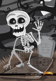 Cementerio de la tumba de esqueleto de dibujos animados