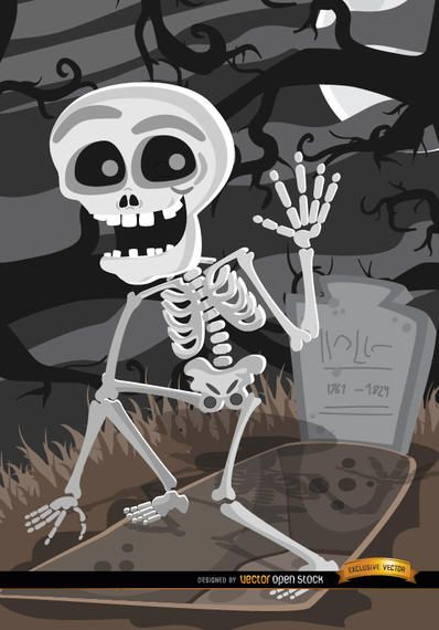 Cartoon Skeleton tomb graveyard