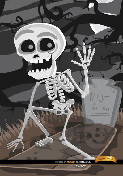 Tumba de dibujos animados esqueleto cementerio