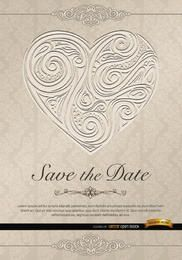 Heart swirls wedding invitation