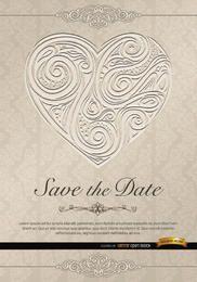 O coração roda convite de casamento