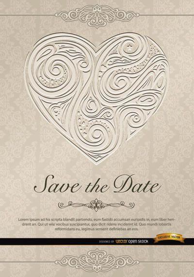Herz wirbelt Hochzeitseinladung