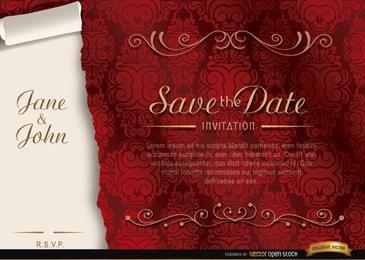 Convite de casamento floral elegante
