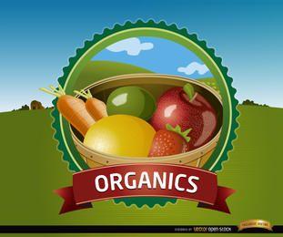 Sello de frutas orgánicas