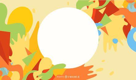 Banner circular sobre fondo colorido pintura salpicaduras