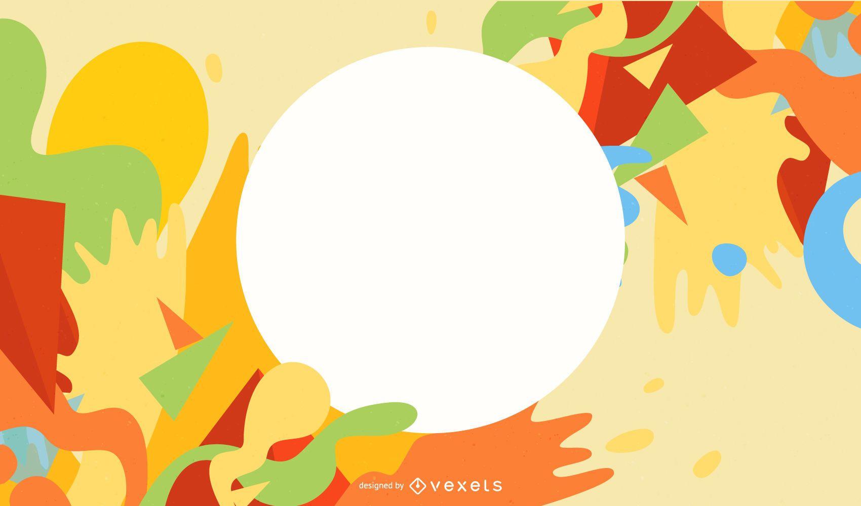 Circular Banner on Colorful Splashing Paint Background