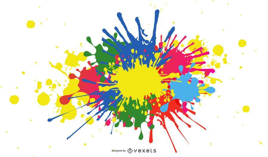 Splashing Ink Paint Colorful Background