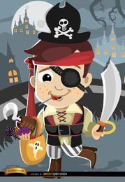 Traje de pirata de criança de desenhos animados de Halloween
