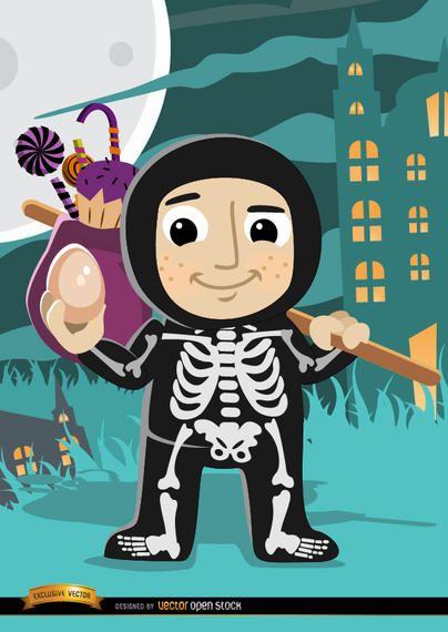 Fantasia de esqueleto de criança de Halloween