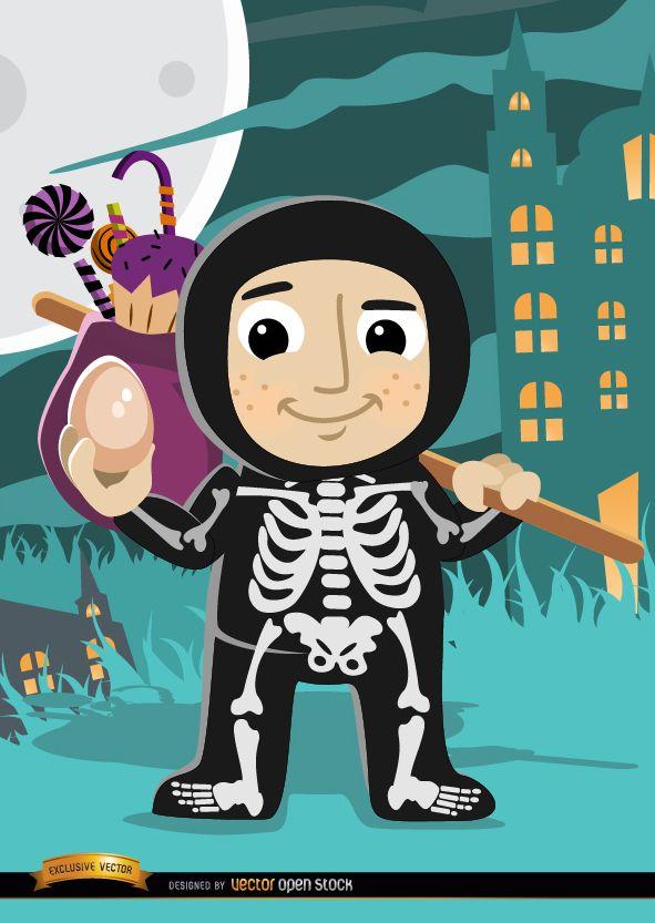 Halloween child skeleton costume