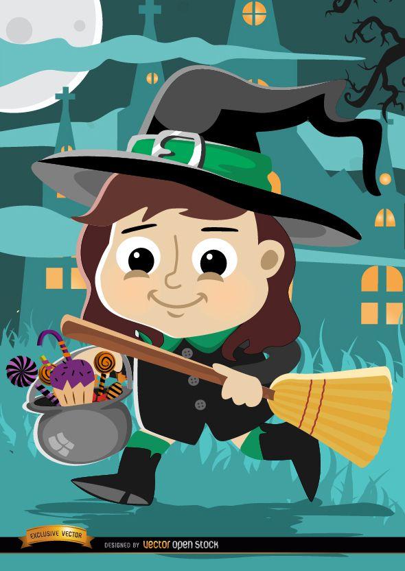 Fantasia de bruxa garota de desenho animado de Halloween