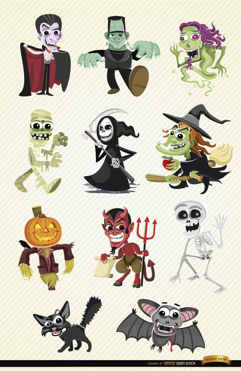 Conjunto de personagens de desenhos animados de Halloween
