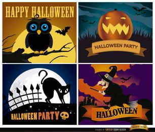 Conjunto de fondos feliz halloween