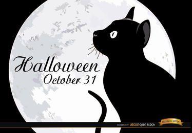 Cartel de gato de luna llena de Halloween