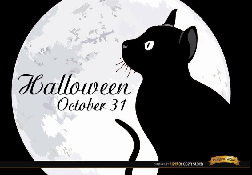 Halloween full moon cat poster