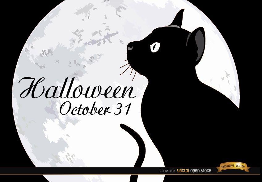 Póster gato de luna llena de halloween