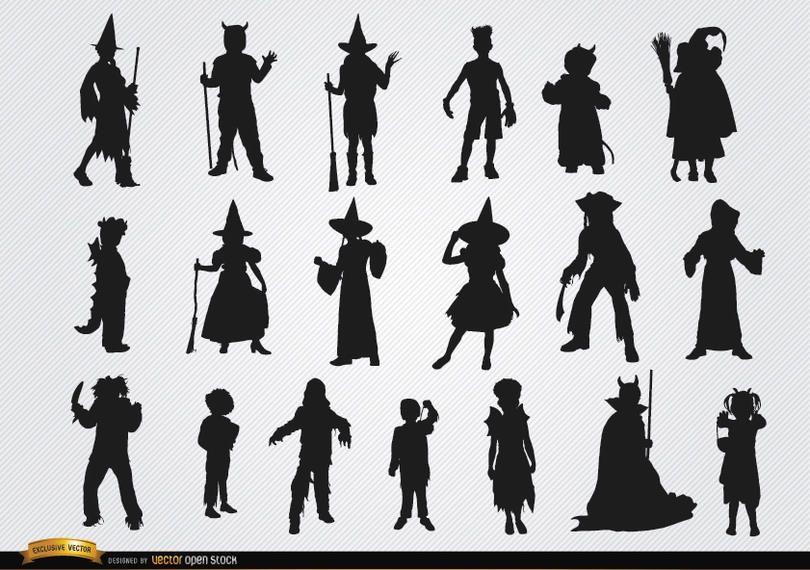 Dia das bruxas crianças trajes silhuetas