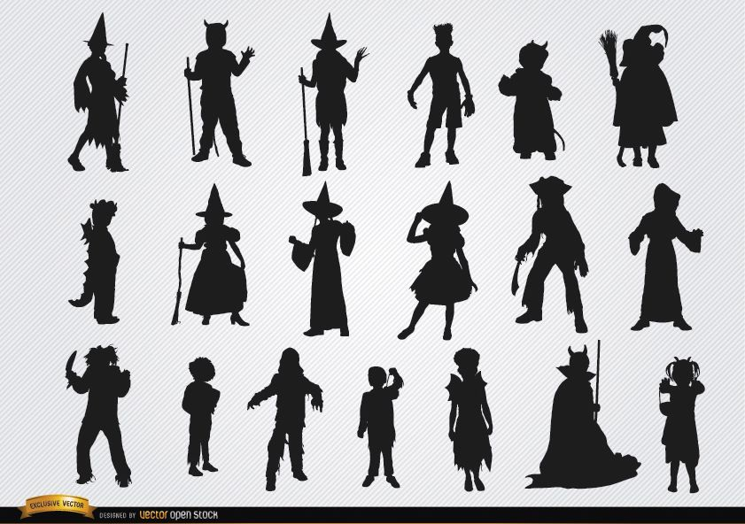 Halloween children costumes silhouettes
