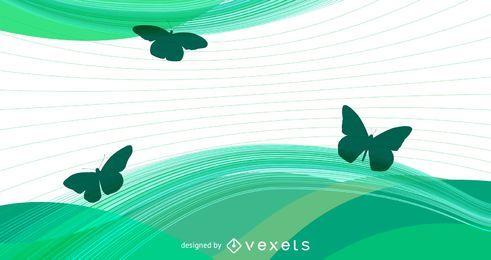Ondas Verdes e Linhas Espirais com Borboletas