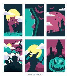 Conjunto de Design de Halloween Assustado Assustado