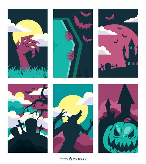 Creepy Hunted Halloween Design Set