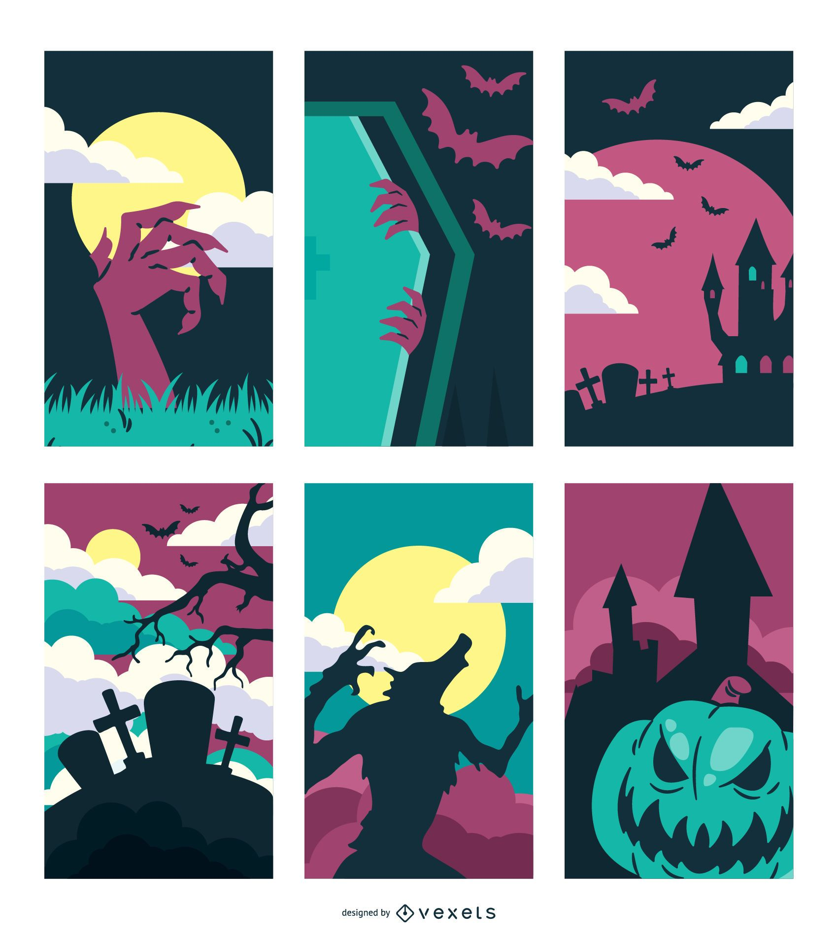 Creepy Hunted Halloween Design Set