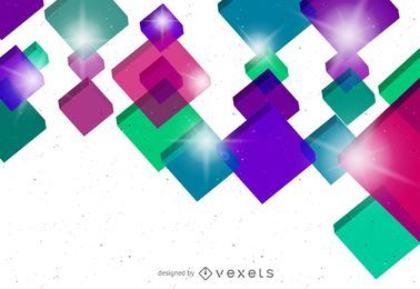 Colorful Crystallized 3D Cubes Background