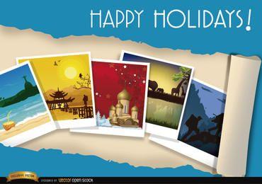 Fondo de fotos de viajes de vacaciones.