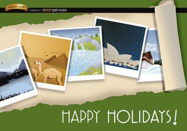 Imágenes de turismo en todo el mundo de fondo.
