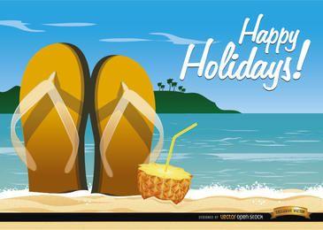 Sandálias de praia e cocktail