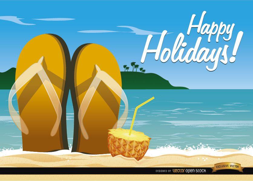 Sandalias de playa y cóctel