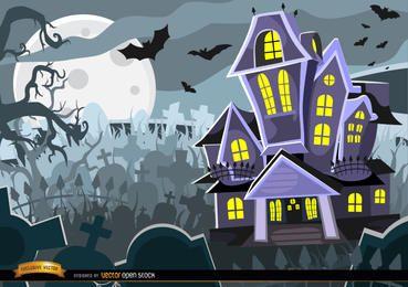 Fondo de cementerio de mansión encantada de Halloween