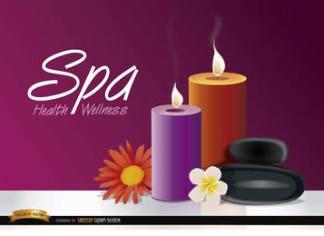 Candles flowers spa background