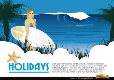 Fondo chica surfista de dibujos animados
