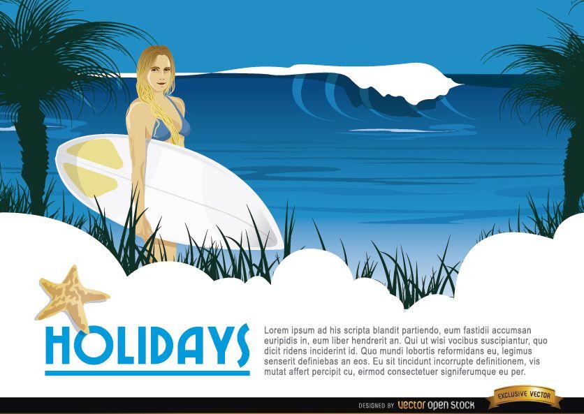 Cartoon surfer girl background
