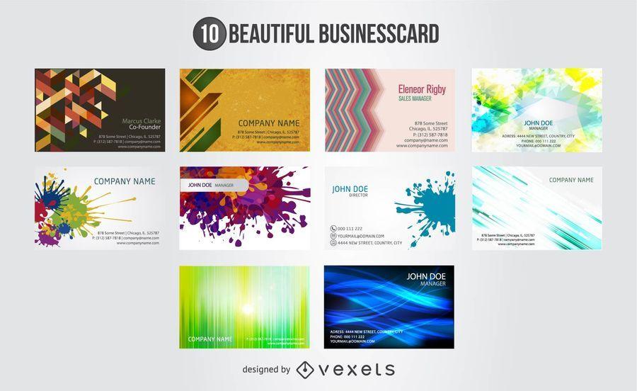 10 designs abstratos artísticos cartão de visita