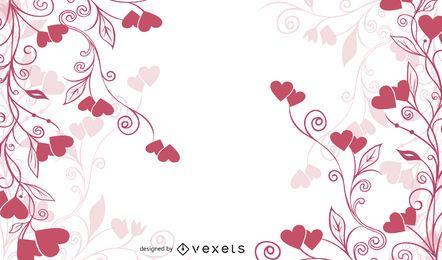 Wirbelnder Blumen- u. Herz-flacher roter Hintergrund