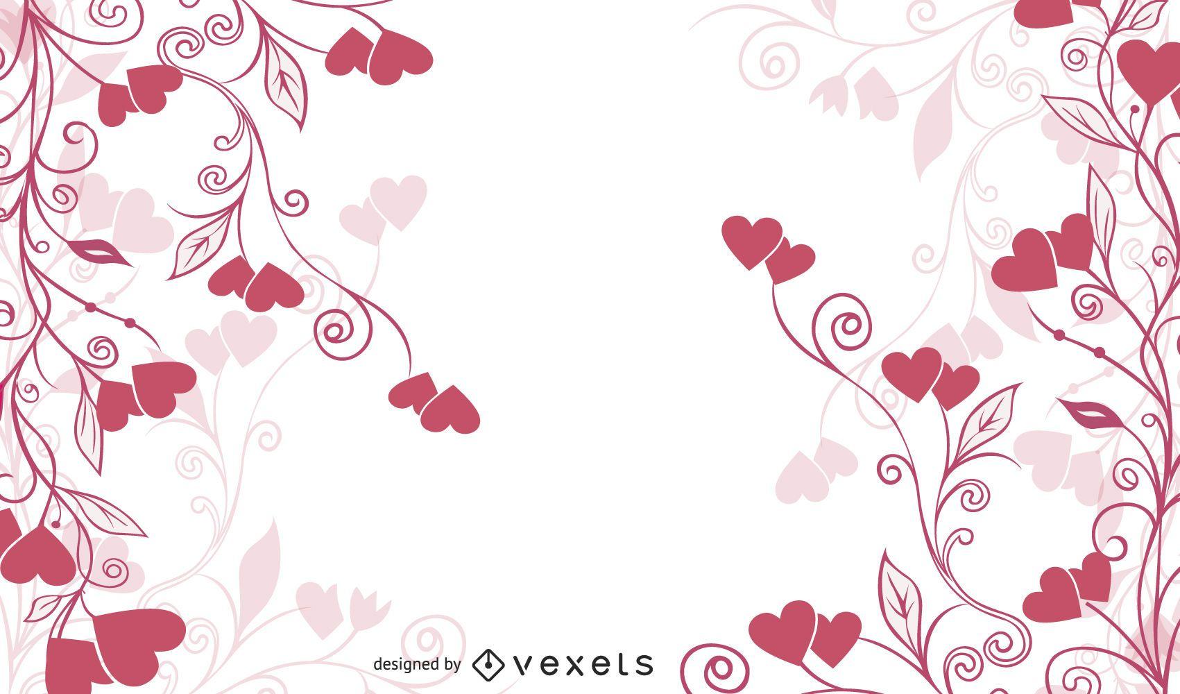 Remolino floral y corazón plano fondo rojo